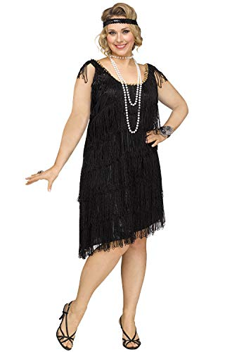 Fun World Women's Plus Size Shimmery Flapper Costume, Black -