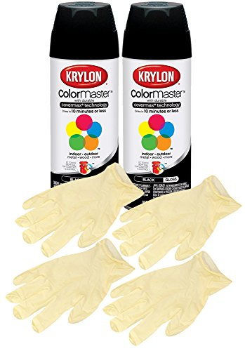 Krylon Indoor & Outdoor Glossy Black Spray Paint (12 oz.) Bundle with Latex Gloves (6 Items)