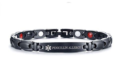 PENICILLIN Allergy Stainless Steel Magnetic Therapy Medical Alert ID Bracelet for Men Women,Adjustable (Medical Alerts Bracelet For Boys)