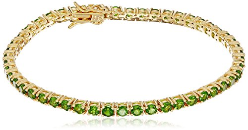 18k Yellow Gold Plated Sterling Silver Genuine Chrome Diopside Tennis Bracelet, (Diopside Sterling Silver Bracelet)
