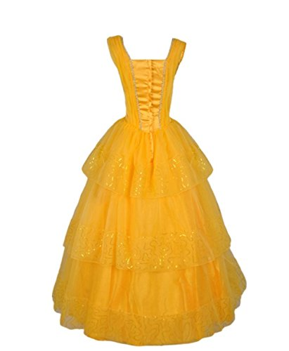 Goodsaleok Adult Fairy Tale Princess Cosplay Costume Ball Gown Fancy Dress For Halloween Party, Yellow (Fancy Dress Ball Halloween Costumes)