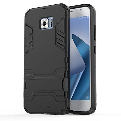 Asus Zenfone V V520KL Case: Lrker Full Protection Super Hard PC Armor Shell Soft TPU Inside Dual Layer with Kickstand Fall Proof Prevent Drop for Asus Zenfone V V520KL, Black