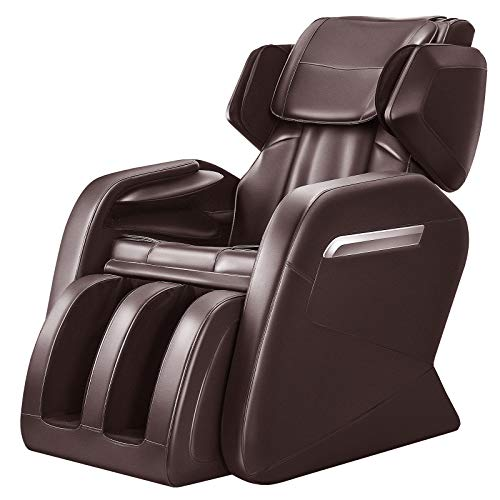 - Full Body Massage Chair, Zero Gravity & Air Massage, Foot Roller, Shiatsu Recliner, with Heater and Vibrating Brown