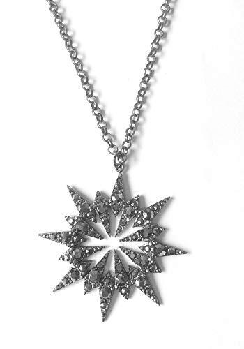 Prebeauty Fashion New Vintage Style Flower Star Crystal Pendant Necklace Women Black Silver Satrburst Necklace Long Chain bijoux Gift (Hematite)