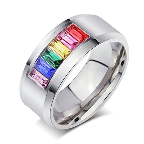 Aokarry Stainless Steel Rings for Women Men Rainbow Color Crystals Polished Inside Size 9