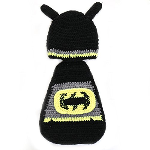 Laymily Handmade Knitting Newborn Baby Crochet Batman Hat Suit Photography Hundred Days Baby Photo Modeling Clothes Handmade Hat Studio Props
