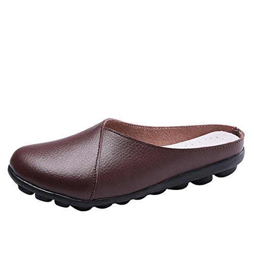 ▶HebeTop◄ Women's Rubber Sole Breathable Natural Walking Flat Loafer, Soft Bottom Shoes Coffee