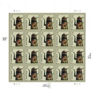 AMERICAN TOLEWARE Pane of 20 x 5 cents US Postage Stamps by USPS
