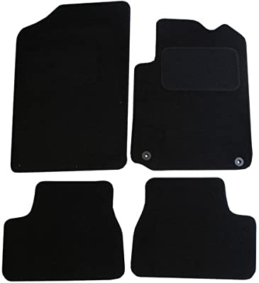 JVL Fully Tailored 4 Piece Black Car Mat Set with 2 Clips