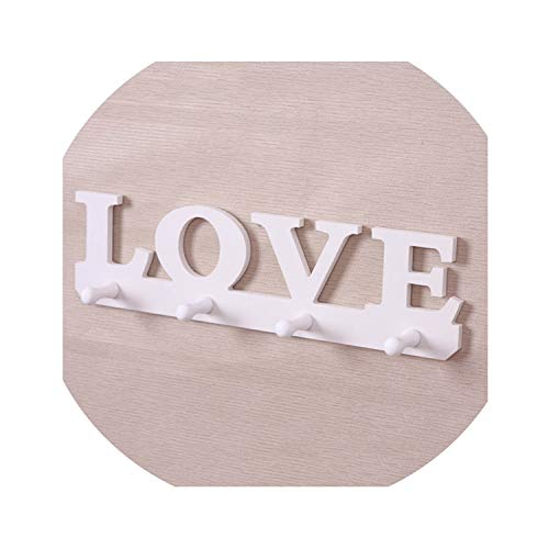 Hook Partition Fasteners - Home Decorative Wall Accessories White Hollow Partition Shelf Wooden Clothes Rack Four Hanging Hook Wall Novelty Home,White
