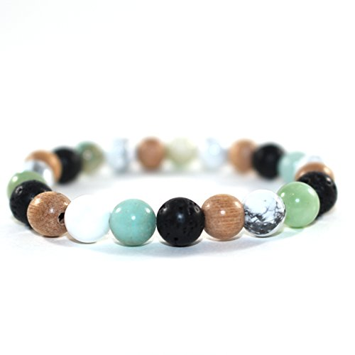 Gemstone Multi Colored Bracelet (Mana Vibes Multi Colored Essential Oil Bracelet, Lava Rock Natural Rosewood White Howlite Amazonite 8mm)