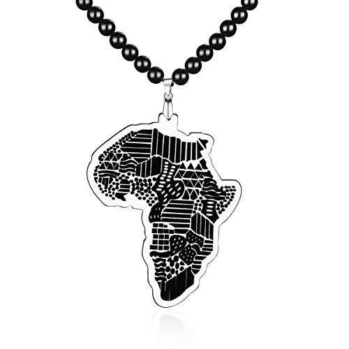 African Beaded Necklace (Vivilly HIHOP African Map Acrylic Necklace For Man Beaded Pendant)