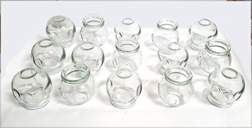 "Glass Fire Cupping Jars with FINGER GRIPS - #5 (Outer Dia. 2.7""), Set of 15 Cups"