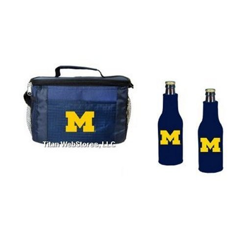NCAA Michigan - Picnic Cooler with Zippered Beer Bottle Insulators (2) | Michigan Wolverines Beer Bottle Cooler Set