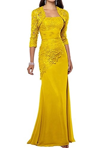 VaniaDress Women Long Mother Of The Bride Dress With Jacket Formal Gowns V263LF Yellow US20W