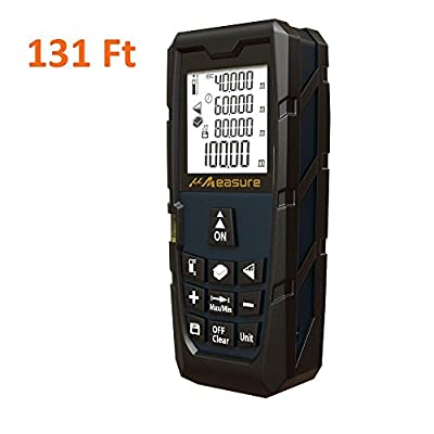 "Laser Measure Distance Meter ft - uMeasure MS-40A (2017 New Technology) 131 Feet with Bubble Levels for Distance Pythagorean and Area,Volume Calculation,Accuracy ±1.5mm 1/16"" 2x AA Batteries"
