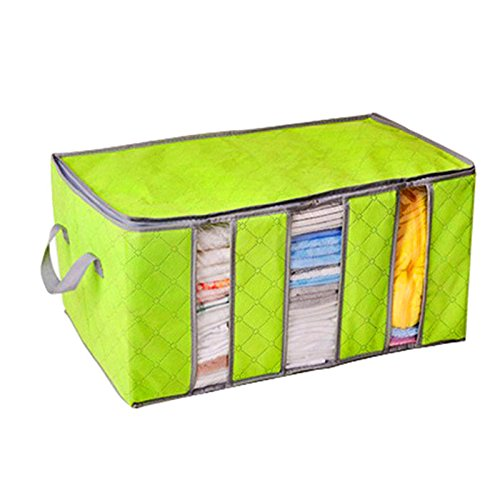 Bamboo Bedroom Armoire (Caveen Foldable Clothing Storage Bag Bamboo Charcoal Fiber Clothes Organizer Bags For Closet Wardrobe Bedroom Armoire Green Large)