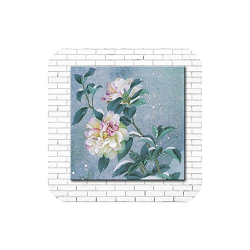 Chinese Style Night Fireflies Peony Flower Scenery Canvas Printings Oil Painting Printed on Canvas Wall Art Decoration Picture,12x12 -