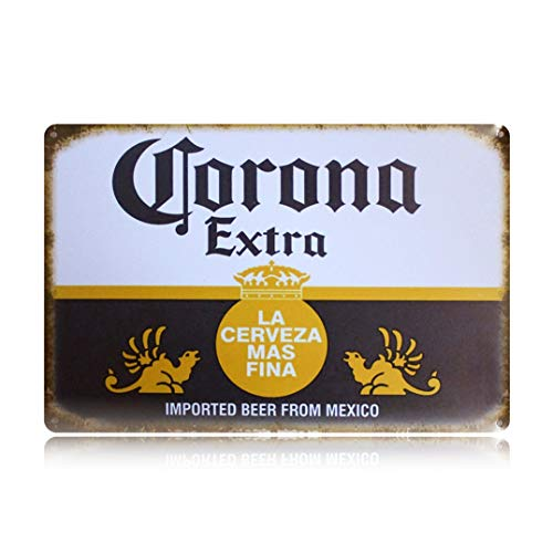 PEI's Retro Vintage Tin Sign, Corona Beer from Mexico, Home Bar Man Cave Decor, 8