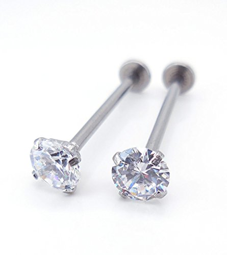 14,16,19mm Cheek Piercing Dimple Maker Clear Cubic Zirconia Barbell 316L Surgical Steel Cartilage 16g (16mm Length 5mm Stone)