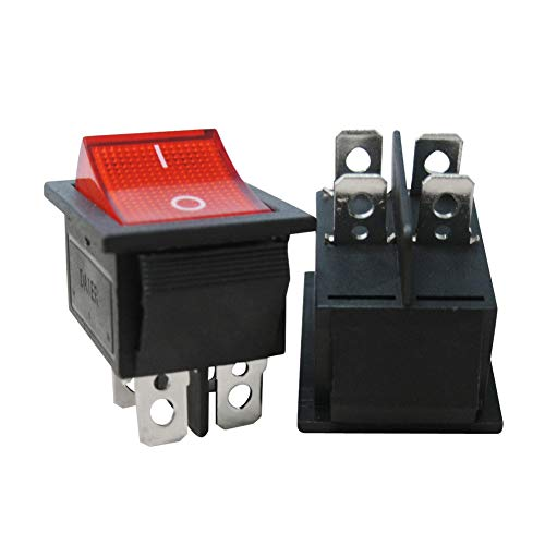 Twidec/2Pcs AC 20A/125V 15A/250V DPST 4 Pins 2 Position ON/Off Red LED Light Illuminated Boat Rocker Switch Toggle(Quality Assurance for 1 Years)KCD2-201N-R