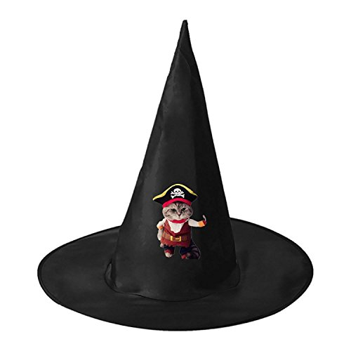 Pirate Cat Witch Wizard Hat Magic Cap Men Women Halloween Cosplay Black