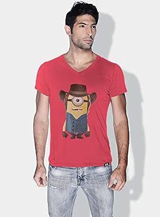 Creo Chuck Norris Minions Vshape Neck T-Shirt For Men - Pink, S