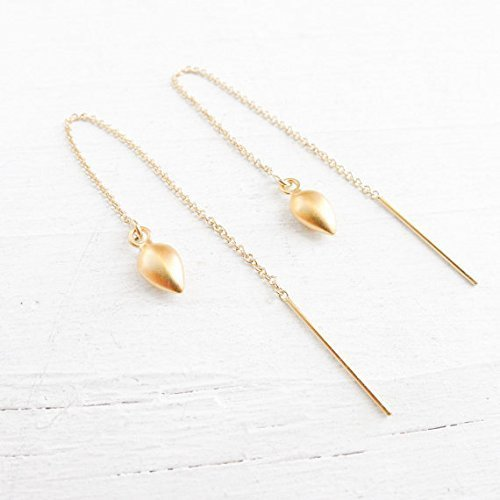 Cable Chain Ear Thread - Gold Threader Earrings with Spike Charm