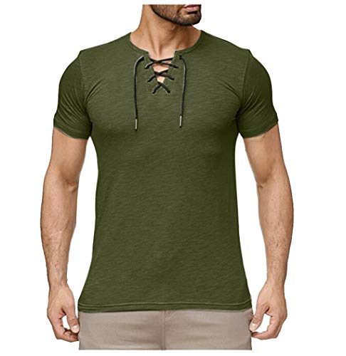 TOPUNDER Summer Mens Fashion Casual Comfort Solid Color Strap Short Sleeve T-Shirt Blouse Army Green