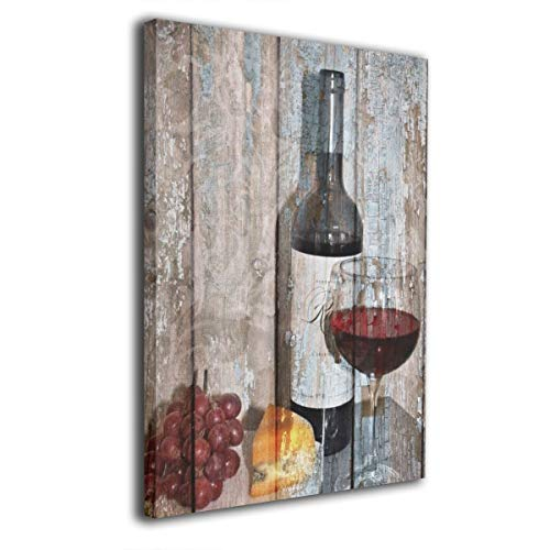SRuhqu Canvas Wall Art Prints Rustic Kitchen Dinning Room Wine Grapes -Picture Paintings Modern Decorative Giclee Artwork Wall Decor-Wood Frame Ready to Hang