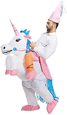 TOLOCO Inflatable Unicorn Rider Costume   Inflatable Costumes For Adults Or Child   Halloween Costume   Blow Up Costume