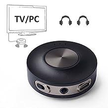 Avantree aptX LOW LATENCY Bluetooth 4.2 Transmitter for TV PC (3.5mm, RCA, Computer USB digital audio) Dual Link Wireless Audio Adapter for Headphones, Class 1 Range - Priva III [24M Warranty]