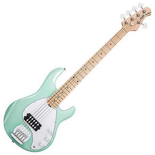 (Sterling by Music Man StingRay Ray5 Bass Guitar in Mint Green, 5-String)