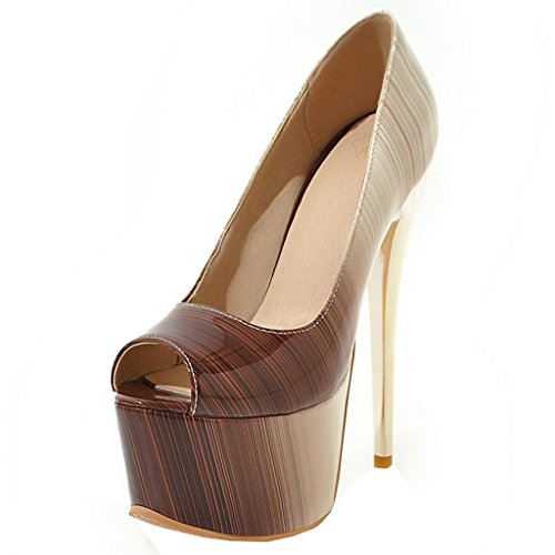ENMAYER Womens Patent Leather Sexy Platform Stiletto Super High Heels Round and Peep Toe Pumps Slip on Wedding Dress Court Shoes Brown#12 vEIEbT
