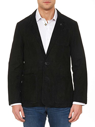 Russell Abstract Print - Robert Graham Russell Suede Woven Outerwear Black 3xlarge