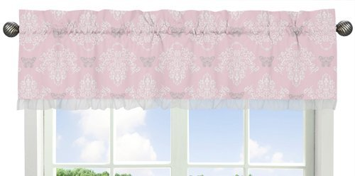 Pink, Gray and White Shabby Chic Alexa Damask Butterfly Window Valance