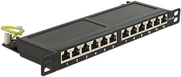 Delock 10 Patchpanel 12 Port Cat 6a 0 5 He Schwarz Elektronik