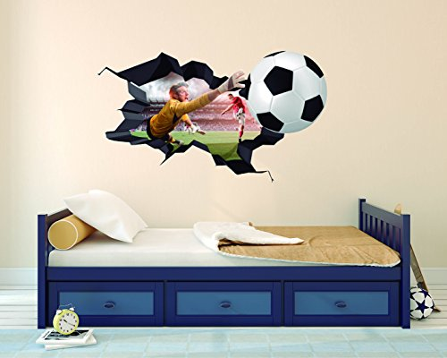 Ball Goalkeeper And Player 3D Effect Wall Sticker for Boys Girls Room Unisex (Wide 22''x13'' Height) by e-Graphic Design Inc