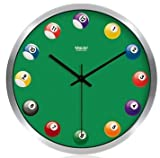 Stylish Creative Fun 12″ Round Non-Ticking Silent Quiet Wall Clock – Billiard Balls Pool Table Review