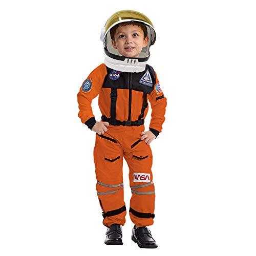 Astronaut NASA Pilot Orange Costume Movable Space Visor Kids Helmet Halloween.