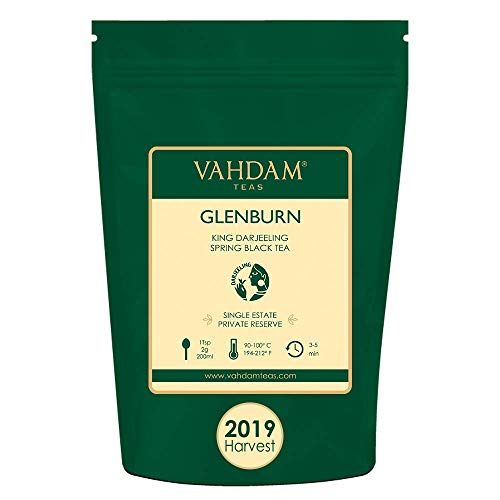 VAHDAM, 2019 First Flush Glenburn King Darjeeling Black Tea | 25 cups, 1.76 oz | Pure 100% Unblended Darjeeling Black Tea Loose Leaf | Single Estate Tea