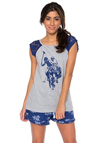 U.S. Polo Assn. US Polo ASSN. Women's 2 Piece Printed Tank Top and Shorts Pajama Set Heather Grey Large (Top Shorts Piece 2 Tank)