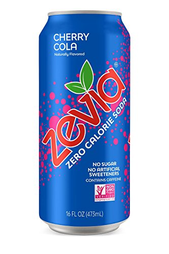 - Zevia Cherry Cola, 16 Ounce Can (12 Count) Zero Calories or Sugar, Naturally Sweetened, Carbonated Soda, Refreshing, Flavorful, and Tasty