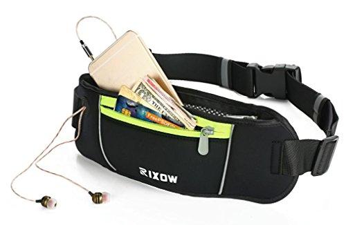 Rixow Sport Hüfttasche Gürteltasche Bauchtasche Nachtsichtbarkeit für Reisen ,Laufen, Wandern , Radfahren, Sport, Yoga & More! Kopfhöreranschluss für iPhone 6 Plus / iPod