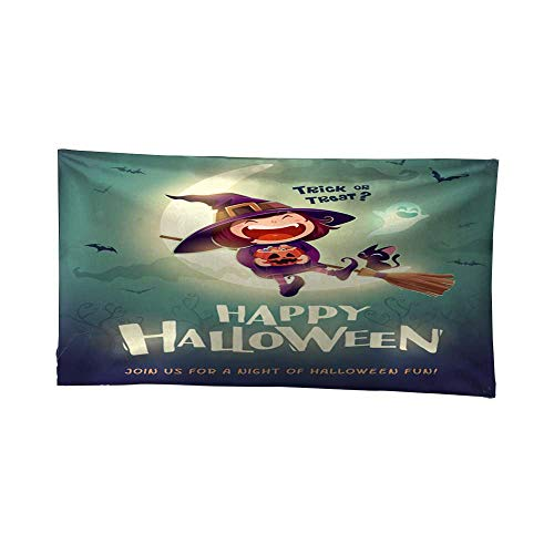 Leighhome Wall Hanging tapestrymandala Wall tapestryHappy Halloween Halloween Little Witch Girl Kid in Halloween Costume Sits on The Moon Retro Vintage 1 72W x 54L Inch ()