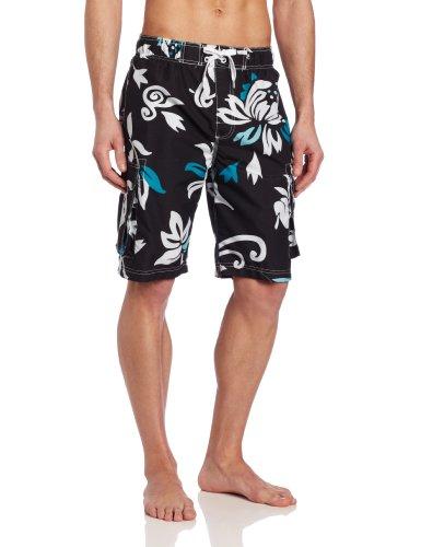 Kanu Surf Men's Barracuda Swim Trunks (Regular & Extended Sizes), Oahu Black, Large - Flap Pocket Plaid Shorts