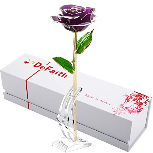 DEFAITH 24K Gold Dipped Rose Gifts, Best Wedding Anniversary Valentines Day Love Gift for Her Wife Girlfriend Spouse, Purple with Stand
