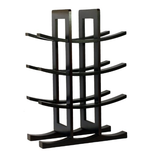 Oceanstar WR1132 12-Bottle Dark Espresso Bamboo Wine Rack - Espresso Wine Cart