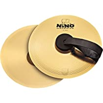 Nino Percussion NINO-BR20 8-Inch Marching Cymbal Pair with Holding Straps, Brass