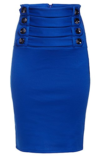 Laeticia Dreams - Falda para mujer, largo de rodillas azul real
